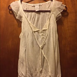 Ruffled sleeve button up cotton top